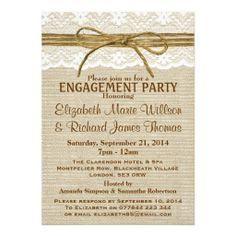 Lace & Rustic Twine Bow Burlap Engagement Party