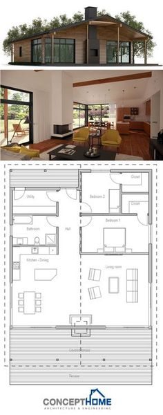 We would just need a little more space for the office and a studio space/my office (I need space for my art supplies and education books/papers/materials) But essentially if this floor plan was stretched a bit and maybe one room added, we'd be good. Modern Floor Plans, Modern House Plans, Modular Home Plans, Small House Plans, House Floor Plans, Maison Eichler, Small Farmhouse Plans, Barndominium Floor Plans, Modern Architecture