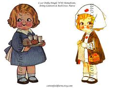Dolly Dingle WWI Homefront Army Canteen and Red Cross Nurse Vintage Paper Dolls Digital Sheet C-327  for Transfers or Sewing into Dolls. $1.99, via Etsy.