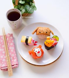 """""""Made sushi today! Winnie the Pooh and friends. Would you like this for lunch? Crabmeat & Egg Pooh Bear, Inarizushi Eeyore, Tamago sushi Piglet, Salmon…"""""""