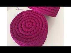 Penye ipten normal aralara batmalı tabandan yuvarlak sepet yapımı-1 - YouTube