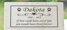 "Free Shipping- Pet Memorial 12x6 ""Dakota"" Design  Personalized -- Durable Italian Porcelain Tile - No Maintenance by artfooldodger on Etsy https://www.etsy.com/listing/33877772/free-shipping-pet-memorial-12x6-dakota"