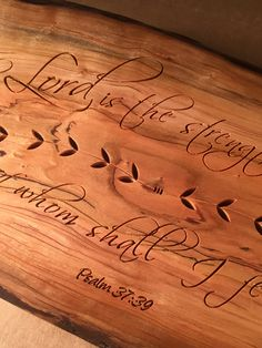 Cherry Slab Sign - Psalm 37:39