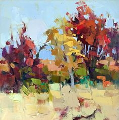 Fall Color by Trisha Adams Oil ~ 12 x 12 Landscape Art, Landscape Paintings, Impressionist Art, Impressionism, Autumn Painting, Tree Art, Painting Inspiration, Les Oeuvres, Painting & Drawing