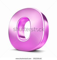 3d pink purple metal letter O isolated white background