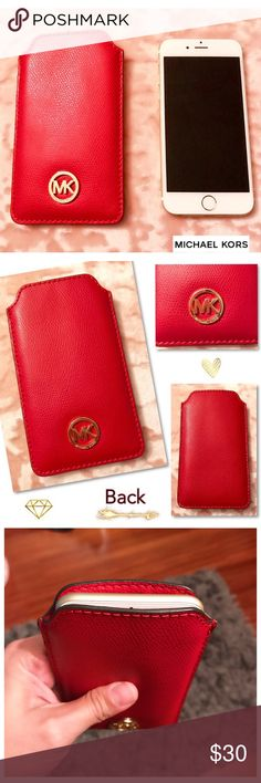 MICHAEL KORS Red Leather Cell Phone Holder ❤️ If you're looking for a Fashionable alternative cover for your phone, then this is the way to go! 💁🏻 This authentic Michael KORS cell phone holder is vibrant RED leather, with the MK metal logo in gold. The phone in the photo is an iPhone 7 (not Plus) and it fits perfectly! If you're in a hurry you can slip in your ID & debut card and you're good to go! In EXCELLENT condition 👍🏼 Michael Kors Accessories Phone Cases