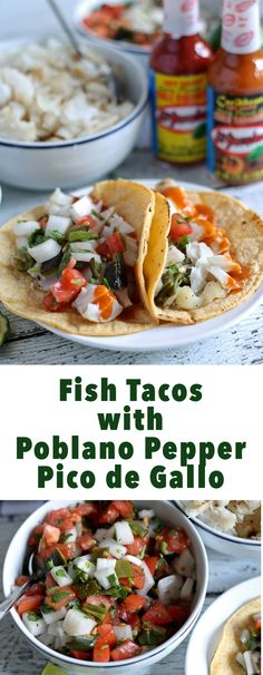 Fish Tacos with Poblano Pepper Pico de Gallo #KingofFlavor #ad   honeyandbirch.com