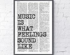 Music Wall QUOTE MUSIC Wall Saying Music Wall Art by GoGoBookart