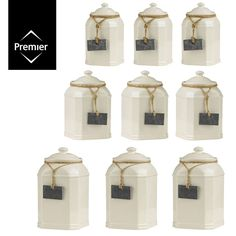 Storage Jars Tea Coffee Sugar Biscuits Pasta Rice Canisters / Slate Tag  Dolomite
