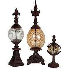 @Overstock.com - Venice 3-piece DaVinci Finials - Adorn your home with these beautiful finials. The decorative accents are sure to draw compliments from friends and guests.  http://www.overstock.com/Home-Garden/Venice-3-piece-DaVinci-Finials/5179599/product.html?CID=214117 $115.99