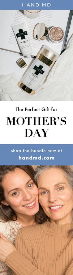 Don't forget to treat mom this Mother's Day. Mom is always on the go, thinking and caring for others. So she often forgets to take care of herself. Give her the gift of softer, smoother hands. While you're at it, you should get one for yourself too - because it's never too late to prevent signs of aging and repair skin damage. Learn more at handmd.com