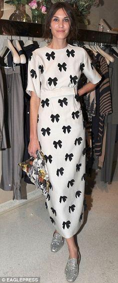 Fun and floaty: Alexa Chung with a monochrome pattern at Stella McCartney