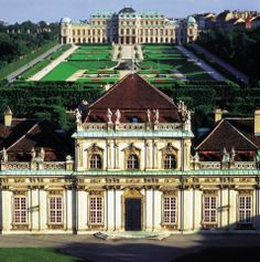 The Belvedere (Schloss Belvedere) Vienna, Austria A historical building complex in Vienna, Austria, consisted of two Baroque palaces ( the Upper and Lower Belvedere), the Orangery, and the Palace Stables. The buildings are set in a Baroque park landscape in the 3rd district of the city, south-east of its centre. It houses the Belvedere museum. The grounds are set on a gentle gradient and include decorative tiered fountains and cascades, Baroque sculptures, and majestic wrought iron gates