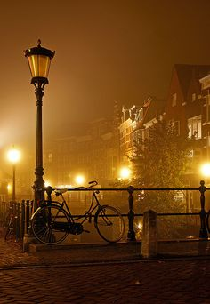 "sericite: ""Bicycle, Oude gracht, Utrecht at Night (by Lambert Wolterbeek Muller) """