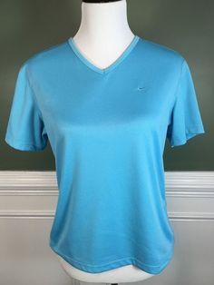 NIKE DRI-FIT Women's V Neck Short Sleeve Light Blue Top Shirt Medium M 8-10 #Nike #ShirtsTops