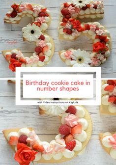 """OMG! I love these trendy """"number"""" cream tart cakes! They are gorgeous and so easy to make! I like having these helpful recipes and video tutorials. These trendy cream tarts are all the rage! Also known as cream biscuits or cream cakes, you can cut them into letters, numbers, or shapes, and decorate them with fruits, flowers, and candies! I love this idea! This is a must try! #cakes #creamtarts #tarts #fruittart #sugarcookie #puffpastry #pastrycream #numbercake"""