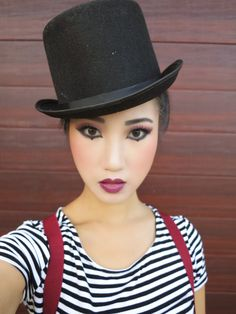 How to do mime makeup. Love the top hat too.