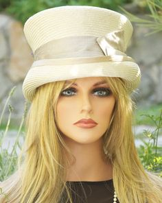 Beige Taupe Straw Hat Mad Hatter Victorian English by AwardDesign, $96.00