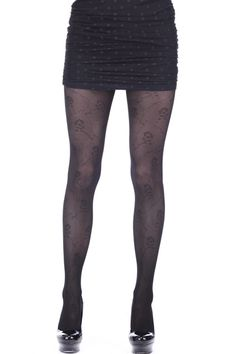 All Over Rose Black Tights    $15.90   romwe.com