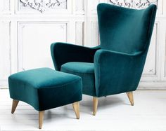 Midcentury-style Elsa chair and footstool at Graham and Green