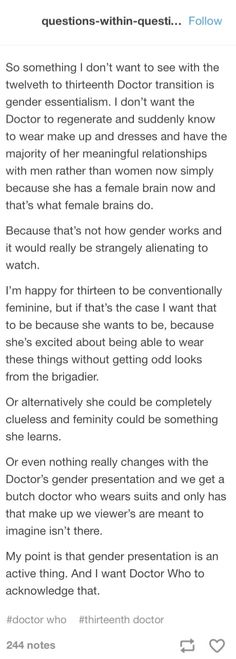 Either way, we still want quality Doctor Who, without focusing too much on gender and it's associated stereotypes.
