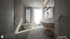 łazienka w stylu minimalistycznym, kabina walk-in, szara zasłona, lampa wisząca, lustro bez ramy