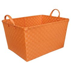 Circo medium orange rectangular storage basket. The perfect storage solution where durability and ease of cleaning are required. Hand-woven of polypropylene.
