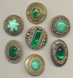 Lovely Antique Brass and Green Glass Buttons Button Art, Button Crafts, Sewing Baskets, Vintage Buttons, Fancy Buttons, Green Button, Sewing A Button, Sewing Notions, Vintage Sewing