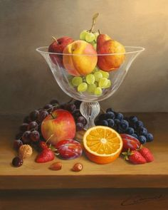 Philip Gerrard. Still Life With Fruit In A Crystal Bowl