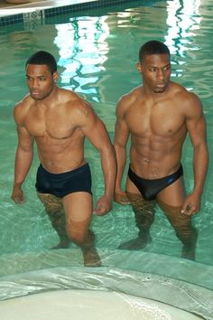 Cute black twins and muscle guy