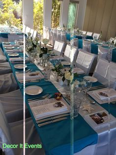 Decor It has been designing many of Melbourne's glamorous and visually stunning weddings, parties and events. Beach Ceremony, Melbourne Wedding, Wedding Decorations, Table Decorations, Event Decor, Wedding Designs, Table Settings, Aqua, Wedding Inspiration