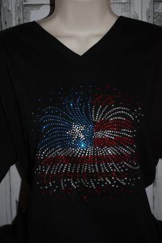 Women's Firework Flag Rhinestone Shirt by ShopSimplyBling on Etsy