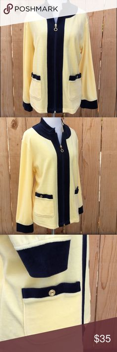 "🆕 Velour Yellow & Blue Jacket & Pant Set Light yellow & blue velour zip up jacket & pants set. Jacket has two front pockets. Measures flat approximately 23"" pit to pit & 24"" long. Pants measure 17"" relaxed to 27"" stretched. 12.5"" rise & 28.25"" inseam. Content is 78% Cotton & 22% Polyester. Both in excellent condition with NO spots or damage. Tag size says PL. Draper's & Damon's Jackets & Coats"