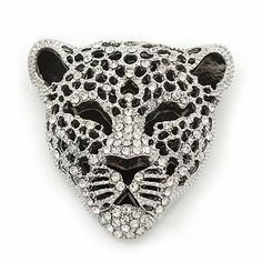 Large Crystal 'Tiger' Brooch In Silver/Black Finish - 5cm Length Avalaya. $24.30. Collection: animal. Gemstone: diamante. Occasion: club night out, cocktail party. Metal Finish: silver plated, black tone. Theme: animal, tiger