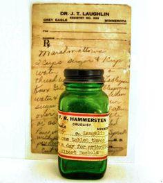 Vintage medicine bottle and prescription from Grey Eagle, Minnesota