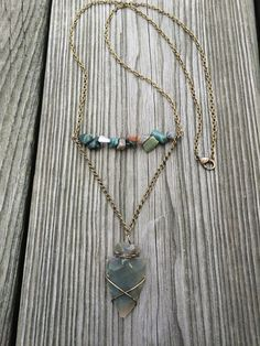 Carved Arrow Head Necklace with Earth Toned by ZenLunaticNYC