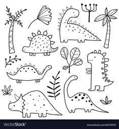 Cute dinosaurs and tropic plants Funny cartoon dino collection Hand drawn vector… – Holz Tier Doodles, Cute Doodles, Simple Doodles, Funny Doodles, Doodle Drawings, Easy Drawings, Doodle Illustrations, Free Vector Art, Free Vector Images