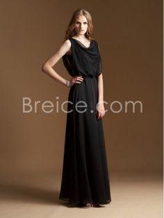 Sheath / Column Straps Sleeveless Floor Length / Long Chiffon Bridesmaid Wedding Party Dresses