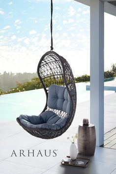Crew Outdoor Hanging Chair with Rope Outside Furniture, Cool Furniture, Patio Chairs, Outdoor Chairs, Living Pool, Backyard Patio Designs, Outdoor Dining, Outdoor Spa, Aesthetic Room Decor