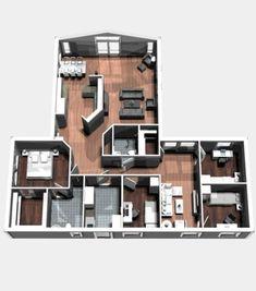 Fyra sovrum och två badrum. Brutet innertak och dubbeldörrar mot uteplatsen. Huset erbjuder mängder av möjligheter!