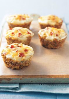Stuffin' Egg Muffin – Press stuffing mix into a muffin tin. Add an egg to each cup and top with bacon bits and cheese. Bake 20 minutes—then accept praise for your brilliant morning recipe.