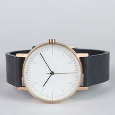 S002 watch in rose gold with grey leather strap by Stock. Available at Dezeenwatchstore.com #watches