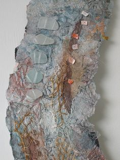 Detail from a stitched mixed media piece. Textile Texture, Texture Art, Collage Art, Collages, Surface Art, Surface Design, Map Quilt, Neutral Quilt, Creative Textiles