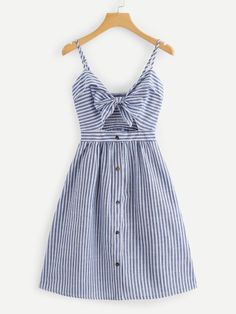 Shop Cut Out Knot Front Striped Dress online. ROMWE offers Cut Out Knot Front Striped Dress & more to fit your fashionable needs. Cute Casual Outfits, Casual Dresses, Summer Dresses, Dresses Dresses, Dress Outfits, Fashion Dresses, Fashion Styles, Mode Boho, Mode Inspiration