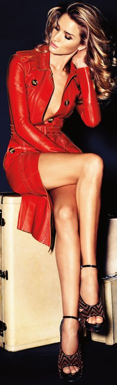 Rosie Huntington-Whiteley in Burberry Prorsum red leather trench coat - by Alexi Lubomirski for Vogue Germany Nov 2011