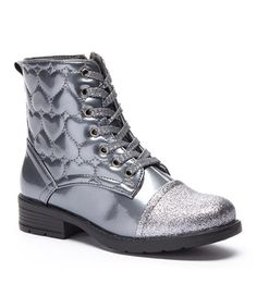 Another great find on #zulily! Gray Embroidered Heart Lace-Up Boot #zulilyfinds