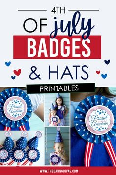 Free printable patriotic red, white, and blue hats & badges for the 4th of July. Blue Hats, Patriotic Hats, Family Traditions, Hat Pins, Badges, 4th Of July, Free Printables, Activities, Party