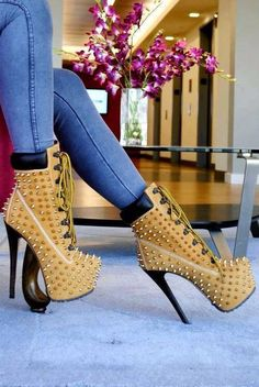 I need these in my LIFE!!!! #OMG #HighHeel #Heels #Timbs #Timbalands #Studs #Gold #Diva #Sexy