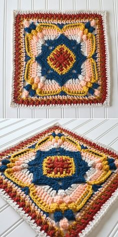 Colorful Crochet Squares Free Patterns – 1001 Patterns