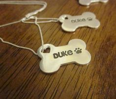 Personalized Silver Dog Bone Necklace with by CustomSilverPendants,